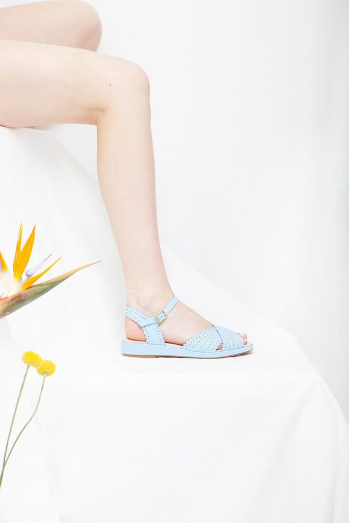Brigitte Blue Low Wedge Sandal-