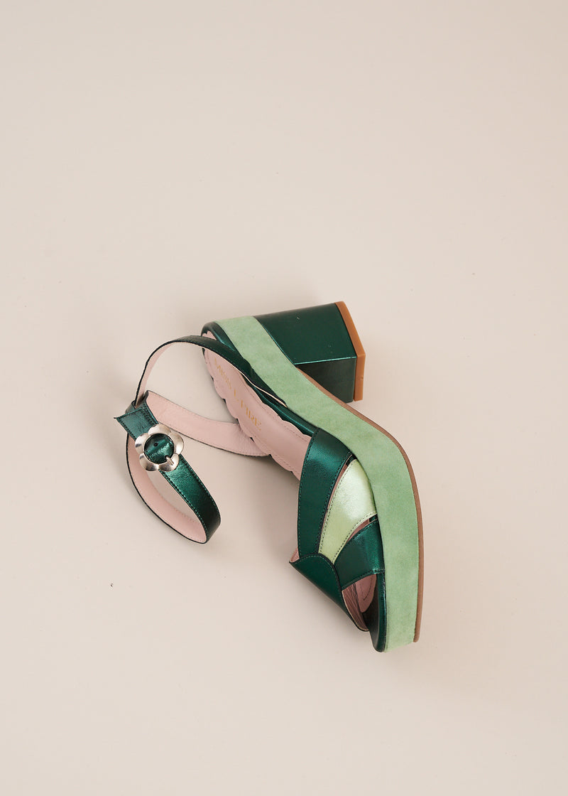 Cora Mint Suede and Emerald Metallic Leather Sunburst Wedge Sandal