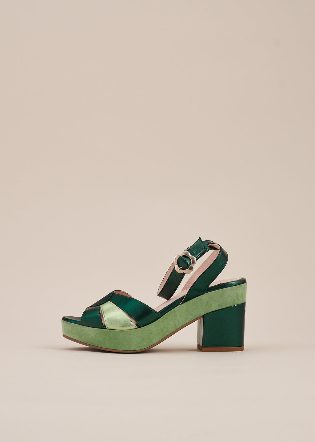 Cora Mint Suede and Emerald Metallic Leather