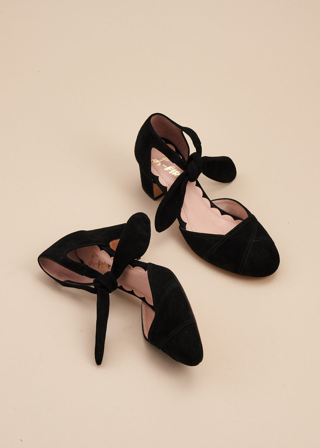 Clarice Black Color Block Tie Front Heel