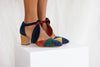 Clarice Mid heel tie front Mary Jane in multi-jewel tone soft suede by Miss L Fire.