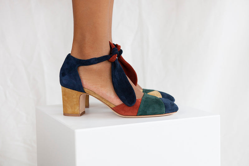 Clarice Multi Color Block Tie Front Heel