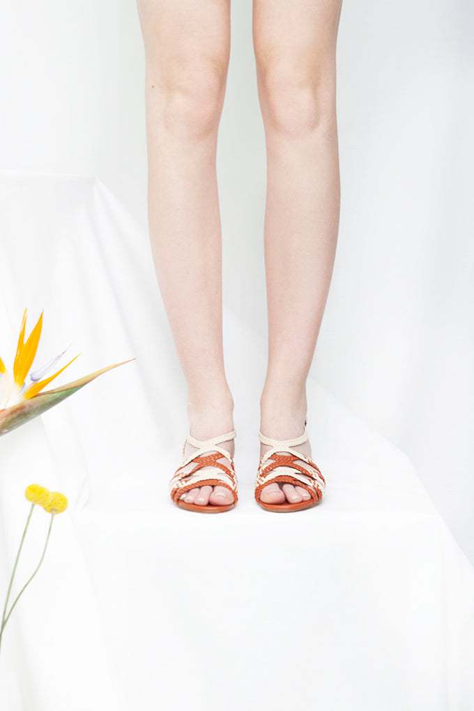 Clementine Tan and Cream Woven Low Heel Sandal
