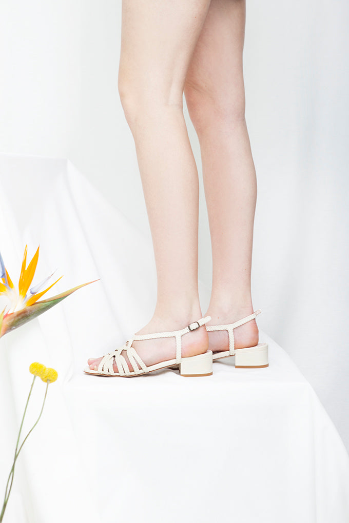 Clementine White Woven Low Heel Sandal- LAST PAIRS SIZES 38 & 41!