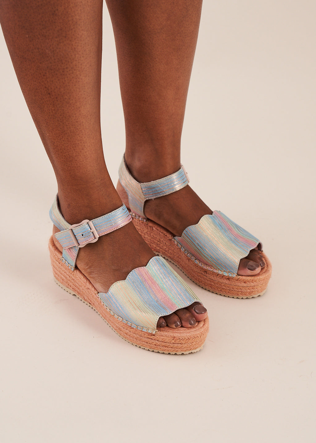 Esther flatform espadrille wedge in multi pastel stripe leather with nude pink wedge, by Miss L Fire. Limited edition, ethically made.
