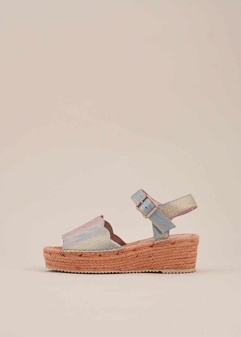 Esther Multi Pastel Flatform Espadrille Wedge
