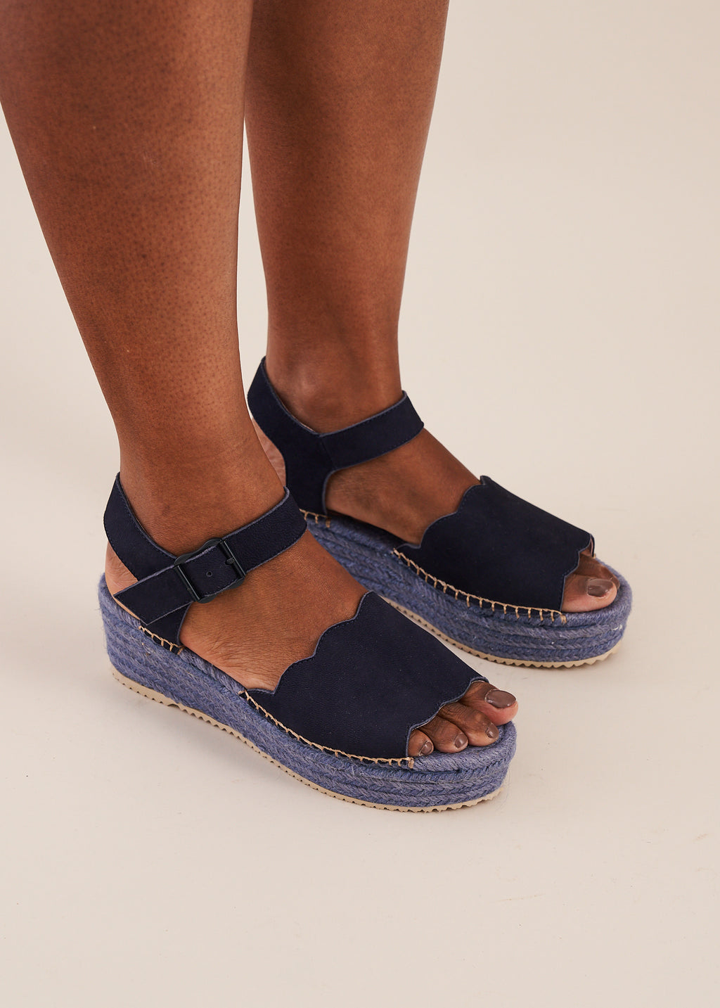 Esther in navy blue is a super comfortable low flatform espadrille wedge by designer Miss L Fire. Limited edition, ethically made.