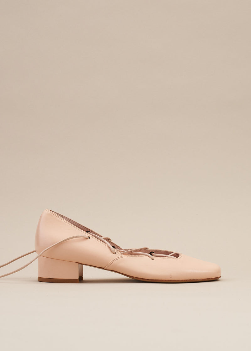 Elinor Nude Pink Leather Lace-up Ballerina Pump- LAST FEW PAIRS!
