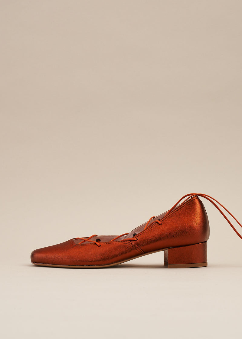 Elinor Rust Metallic Leather Lace-up Ballerina Pump- LAST FEW PAIRS!