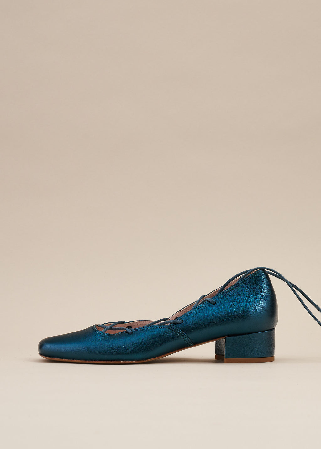 Elinor Teal Metallic Leather Lace-up Ballerina Pump- LAST PAIRS SIZES 38 & 40