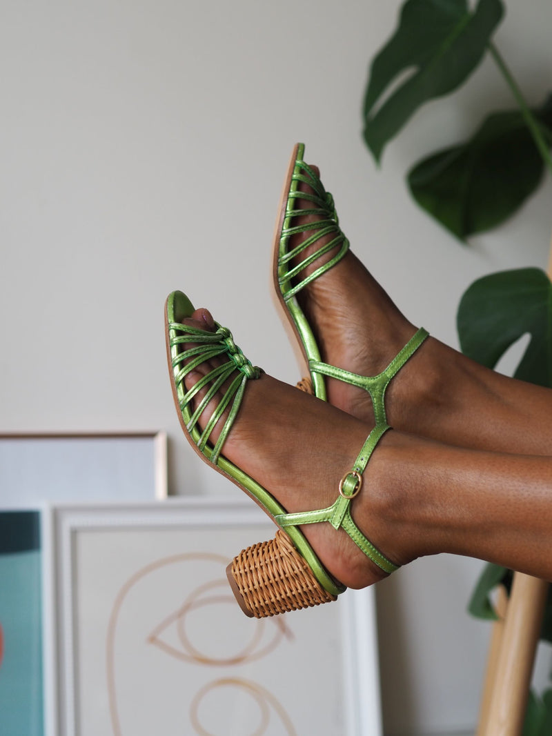 Florentina Chartreuse Metallic Knot Sandal With Basket-Weave Heel