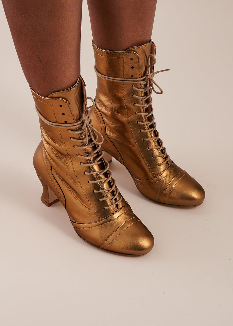 Frida Luxe Bronze Leather Lace up Boots