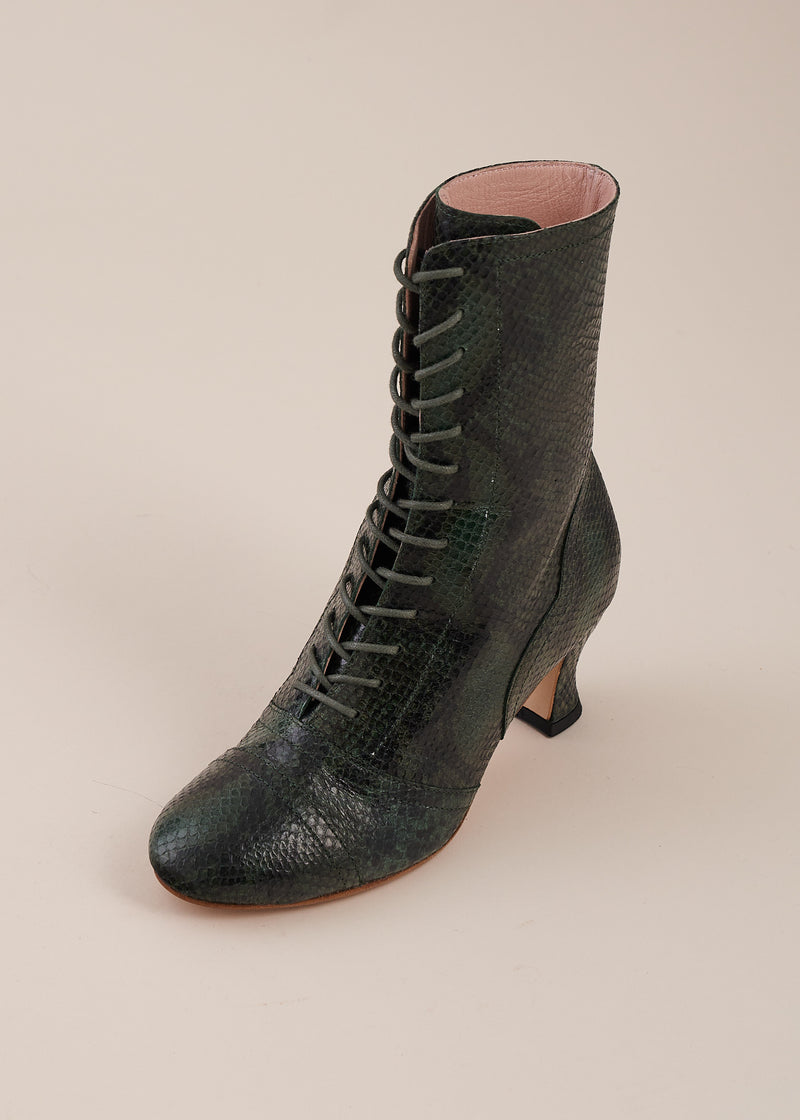 Frida Luxe Green Black Snake Lace up Boots- NEW COLOR