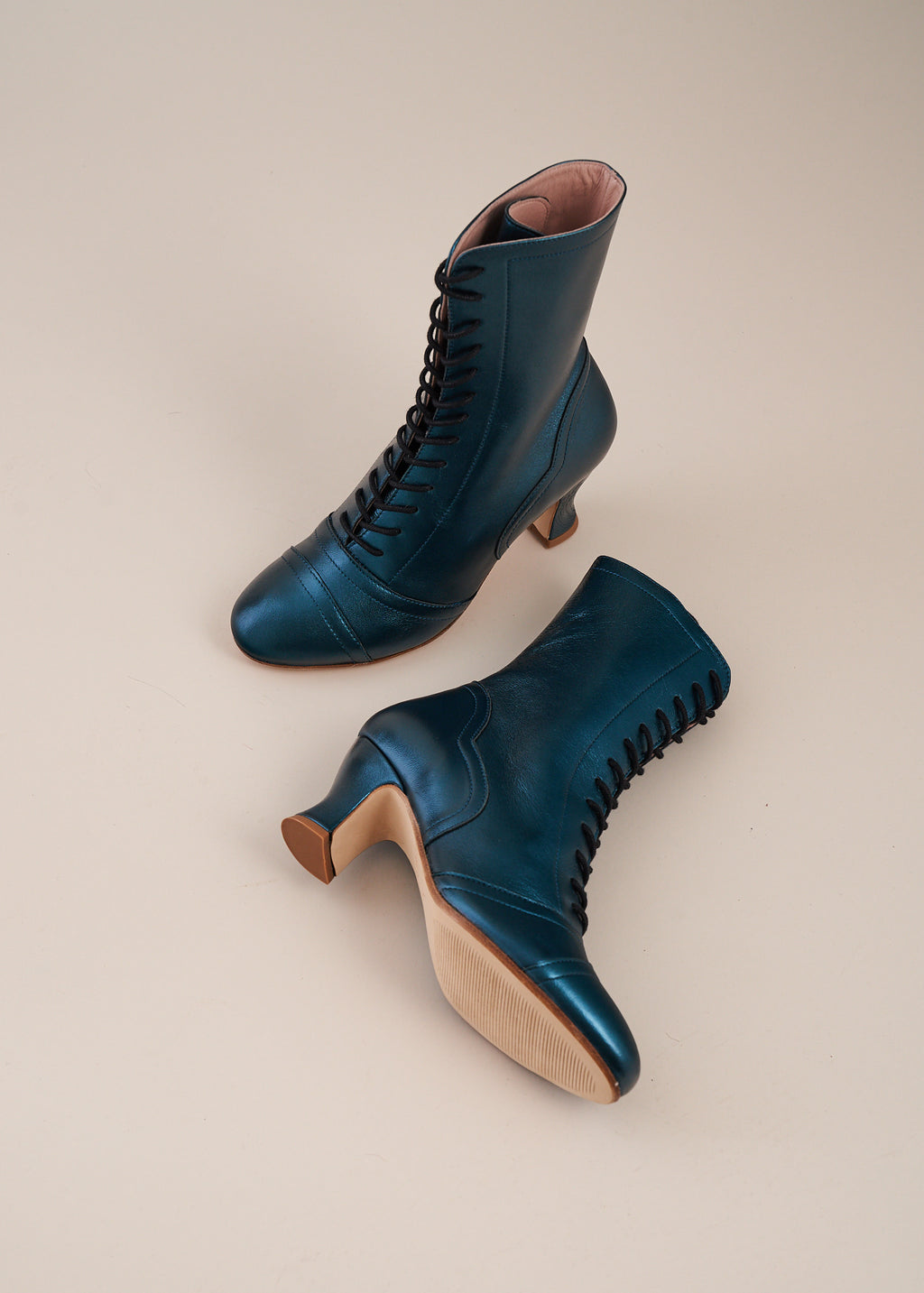 Frida Luxe Teal Metallic Leather Lace up Boots- LAST PAIR SIZE 39!