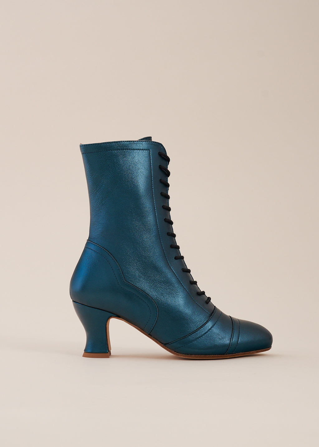 Frida Luxe Teal Metallic Leather Lace up Boots