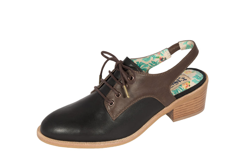 Gillespie low heeled lace up Oxford sandal in black and brown by Miss L Fire