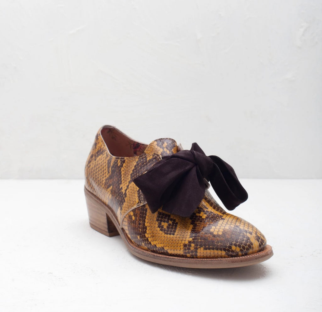 Ginger lace up oxford shoe in snakeskin print leather by Miss L Fire.
