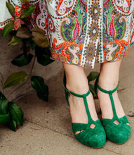 Beautiful green suede T-bar shoes by British designer Miss L Fire