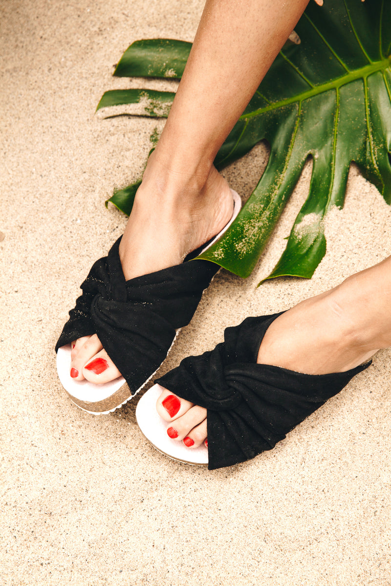 Lara Black Suede Footbed Sandal