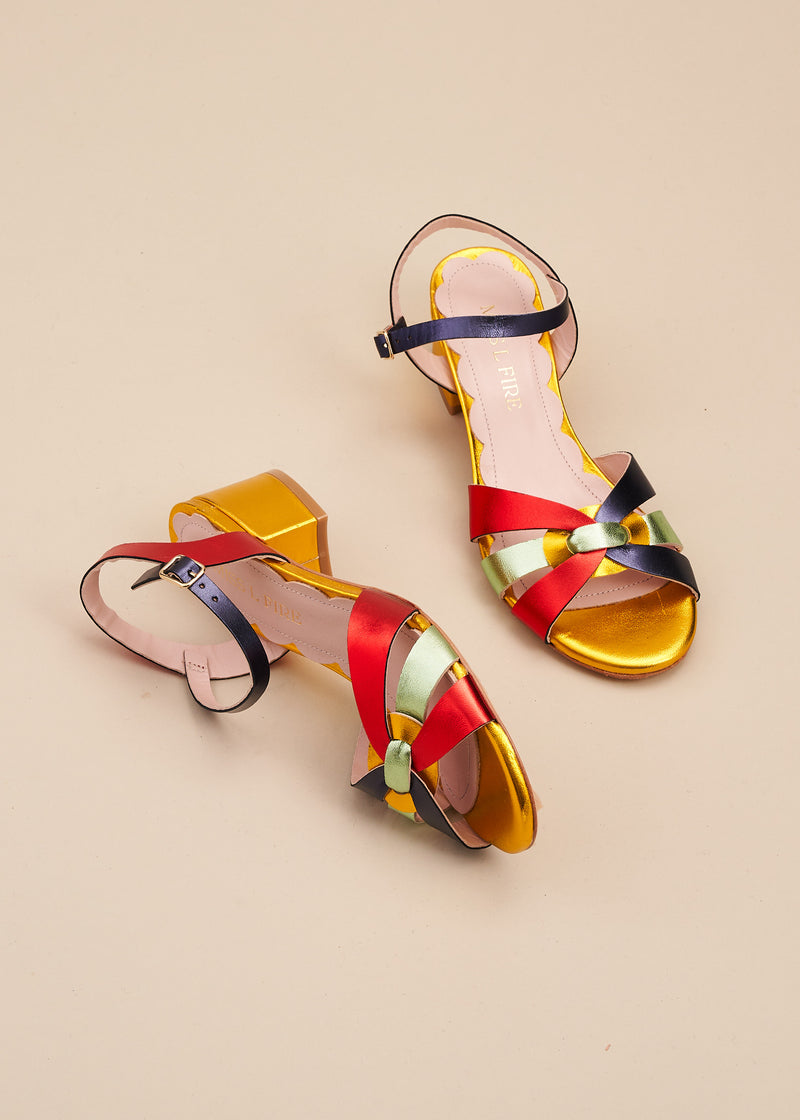 Isla 2 Multi Metallic Interlaced Leather Low Heel Sandal
