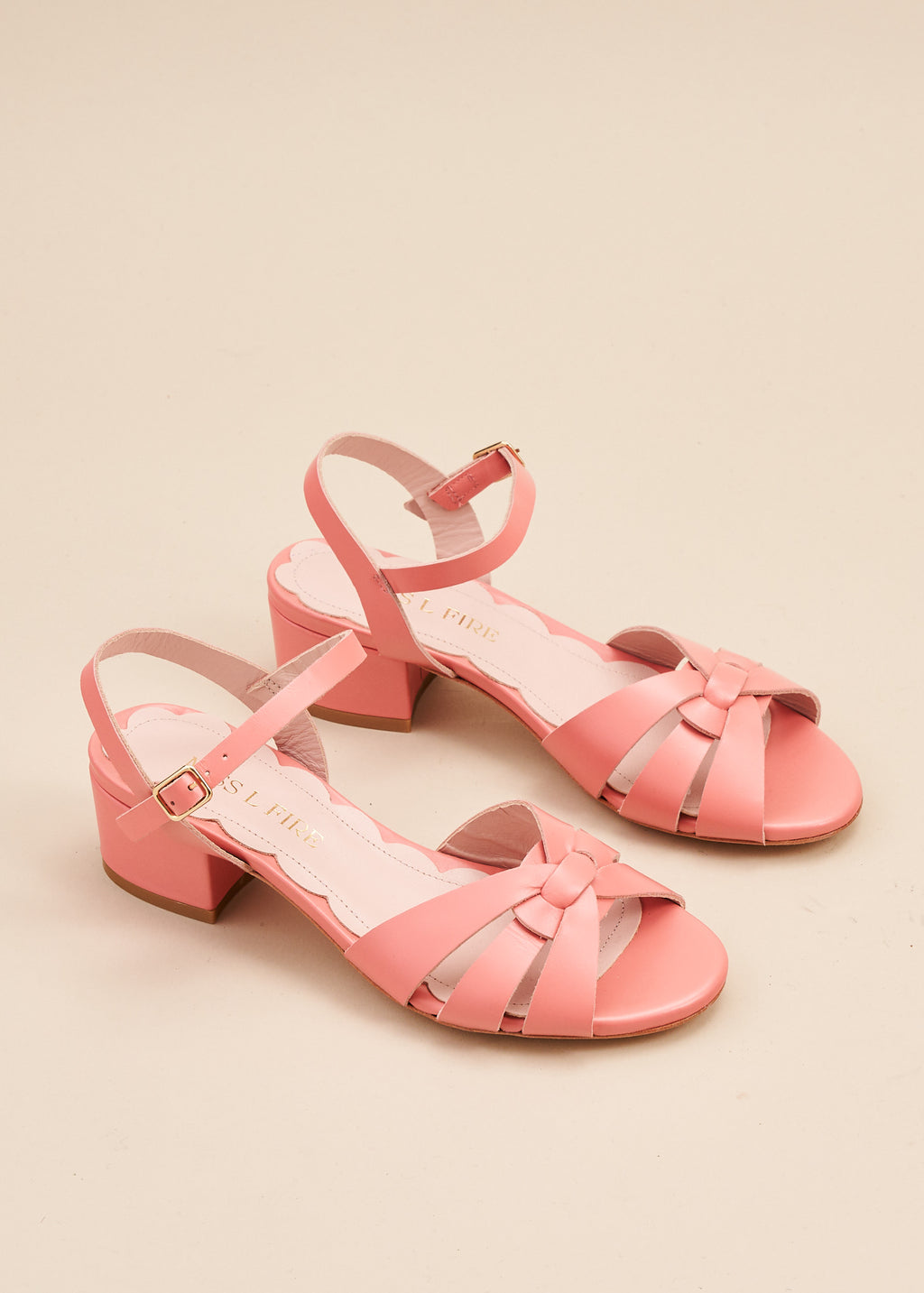 Isla 2 Peach Interlaced Leather Low Heel Sandal