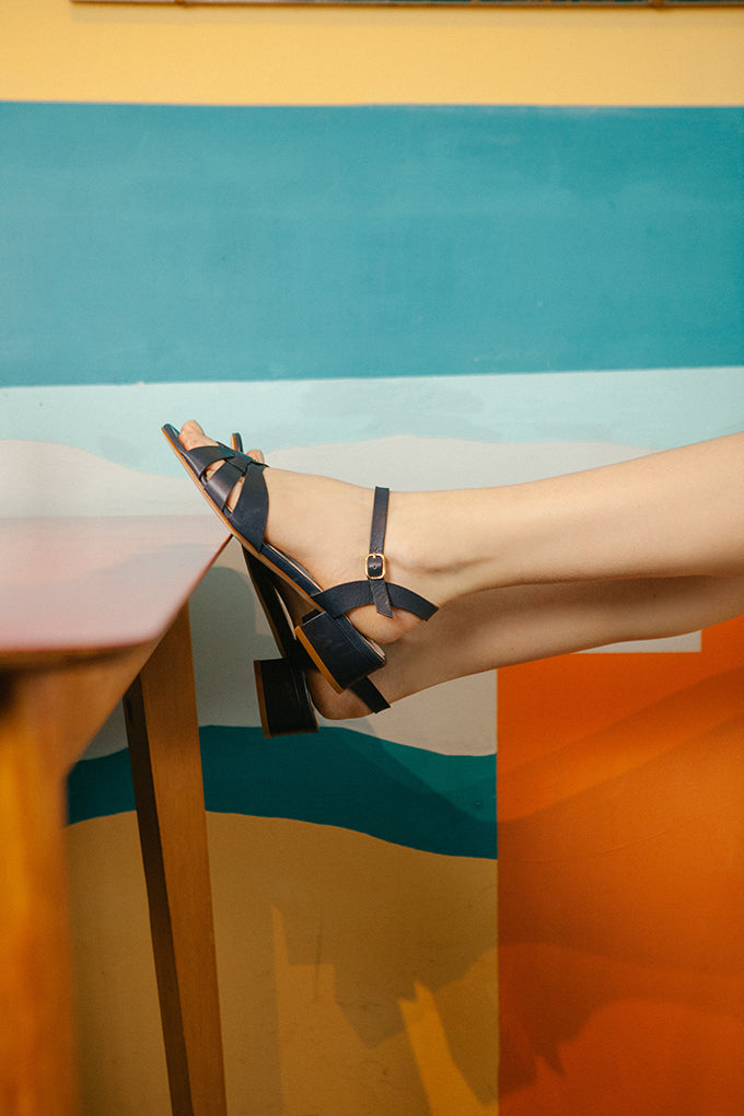Isla Navy Low Heel Sandal