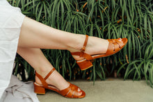 Tan leather designer Isla sandals by London based designer by Miss L Fire.