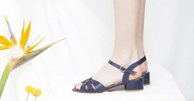 Isla low heel navy leather sandal with interwoven upper by Miss L Fire. Made in Portugal