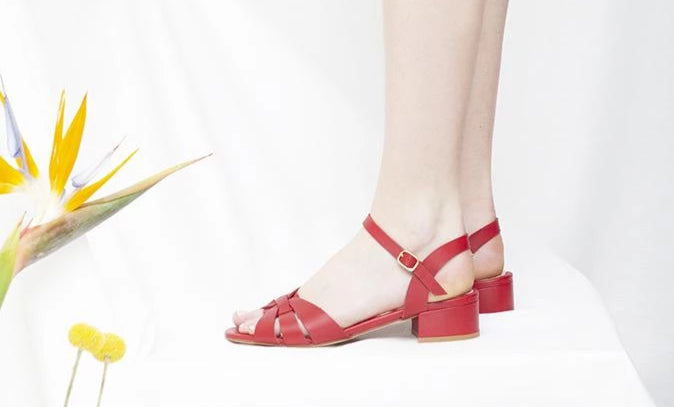 Isla lipstick red leather low heel sandals by Miss L Fire
