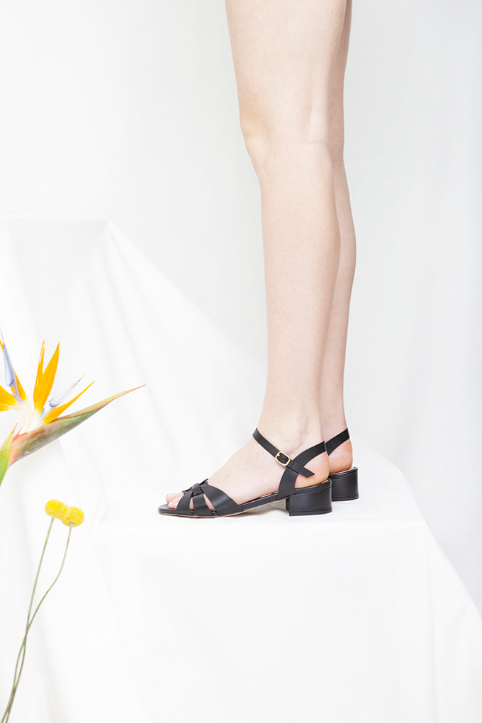 Isla Black Low Heel Sandal
