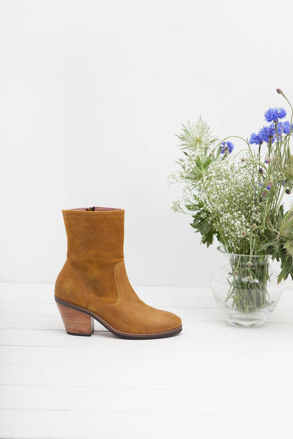 Jane Mustard Zip Up Boot