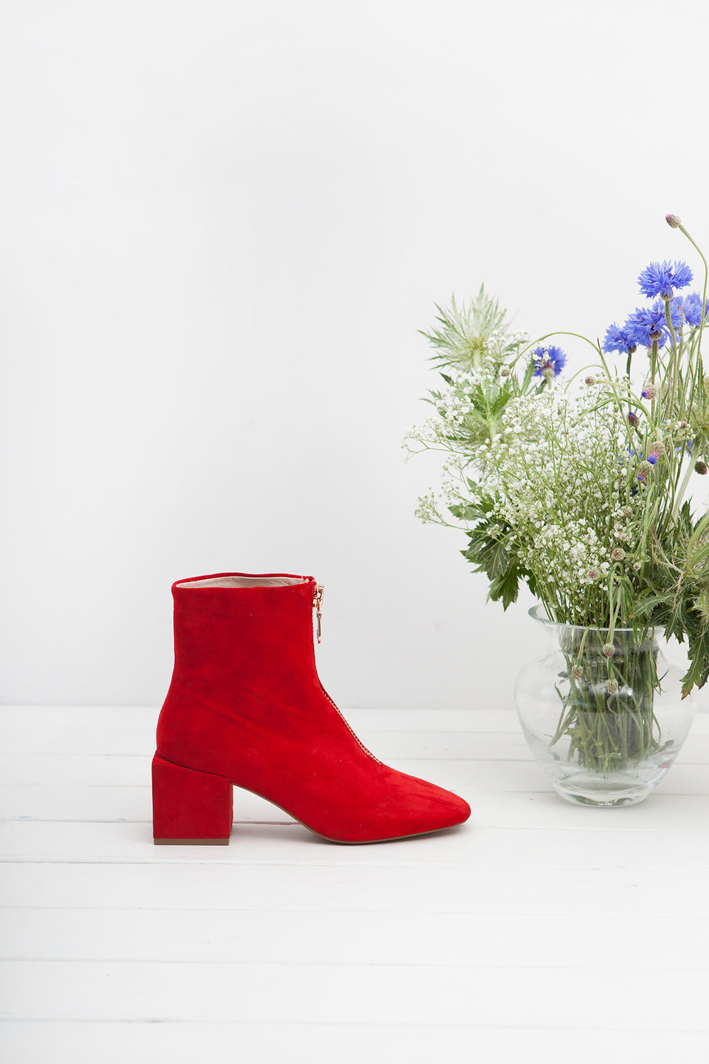 June Scarlet Zip up Ankle Bootie