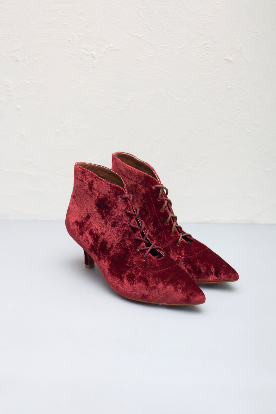 Kitty dark red velvet lace up kitten heel ankle boots by Miss L Fire. Vegetarian friendly boots.