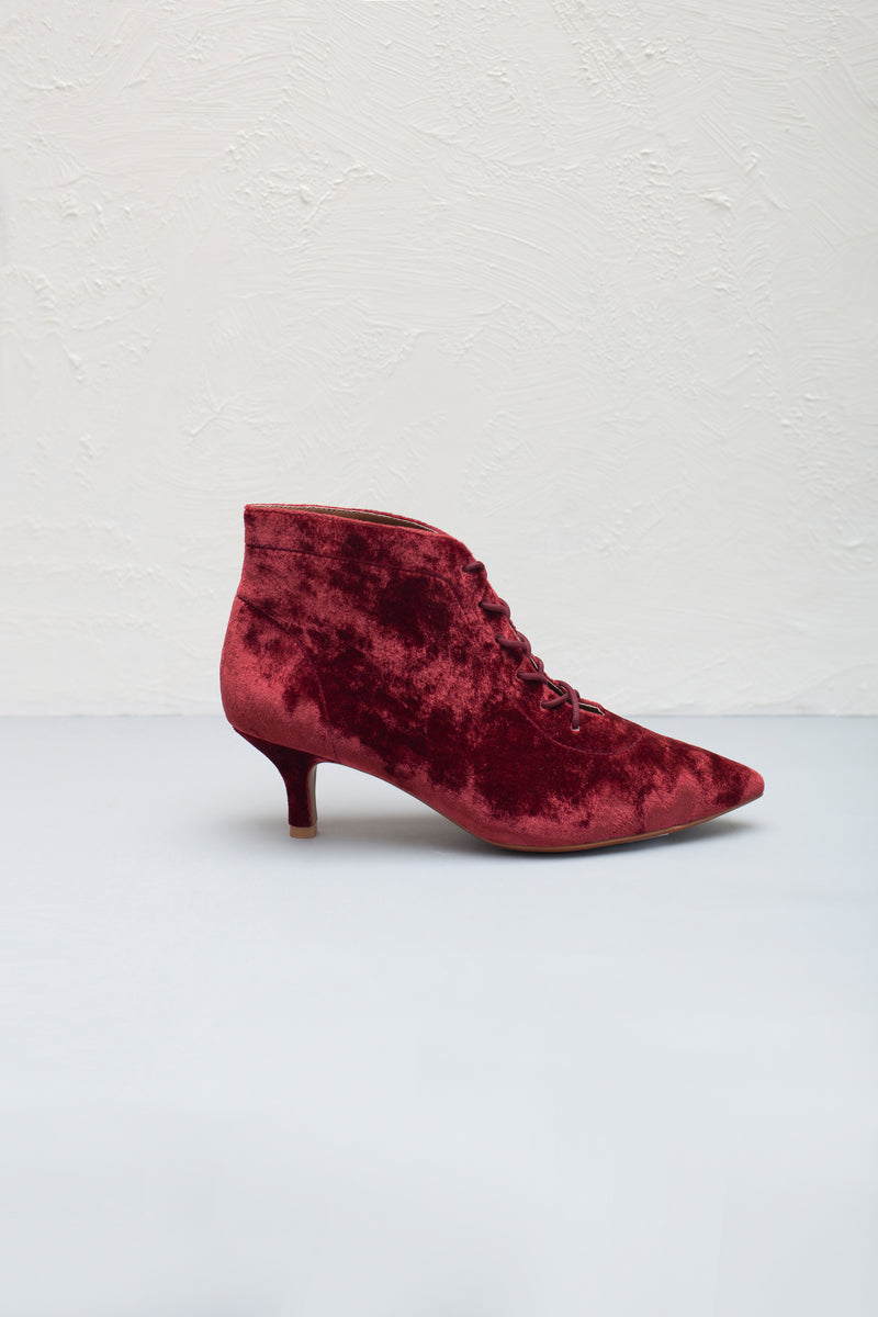 Kitty Rust Velvet Lace up Kitten Heel Bootie- LAST PAIRS SIZES 36 & 38!