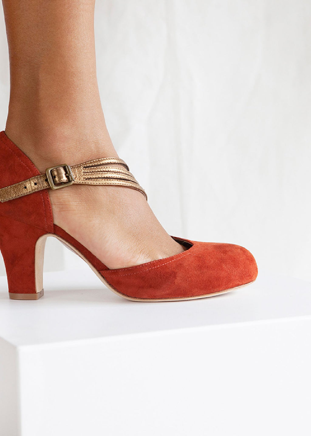 Lana Rust Suede D'orsay Cut Pump With Asymmetric Bronze Strap.