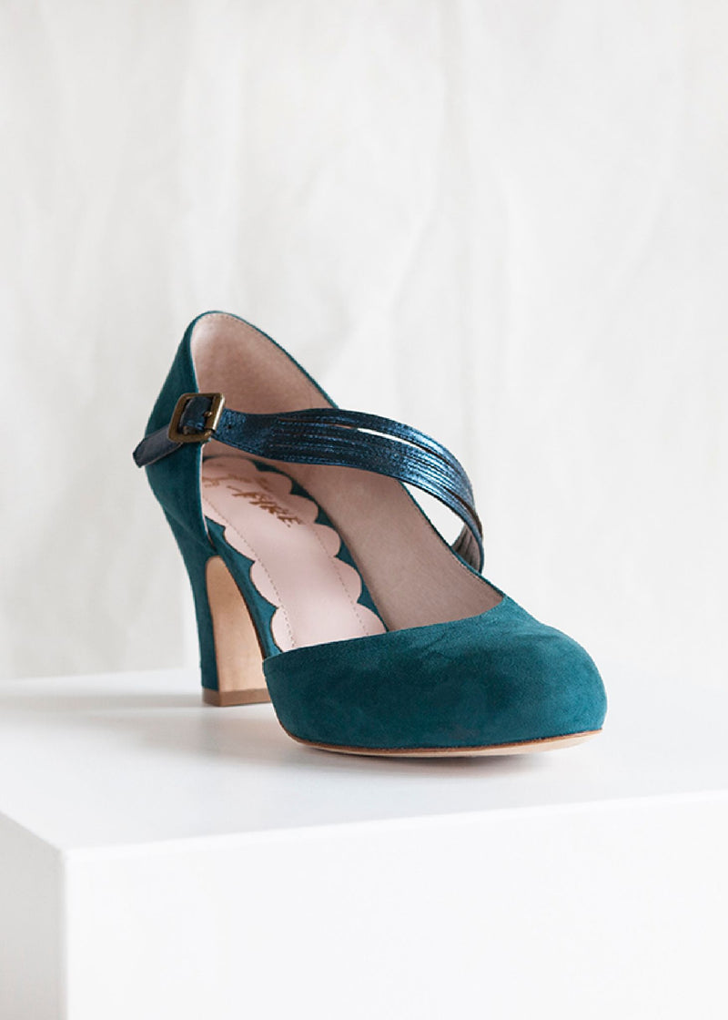Lana Teal Suede D'orsay Cut Pump with Teal Metallic Asymmetric Strap.