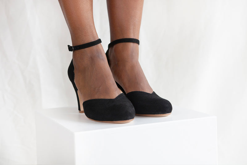 Layla Black Suede Two Part Ankle Strap Sweetheart Shoe.