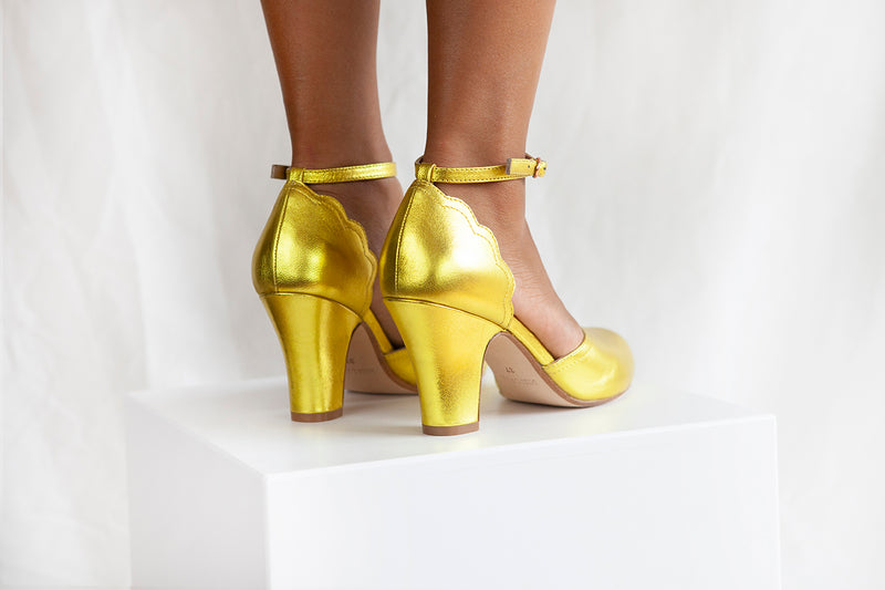Layla Gold Leather Two Part Ankle Strap Sweetheart Shoe