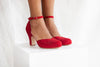 Layla ruby red suede three inch heel two part shoe with adjustable ankle strap and scalloped edge detail. By Miss L Fire