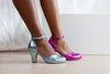 Layla Violet Metallic Leather Two Part Ankle Strap Sweetheart Shoe