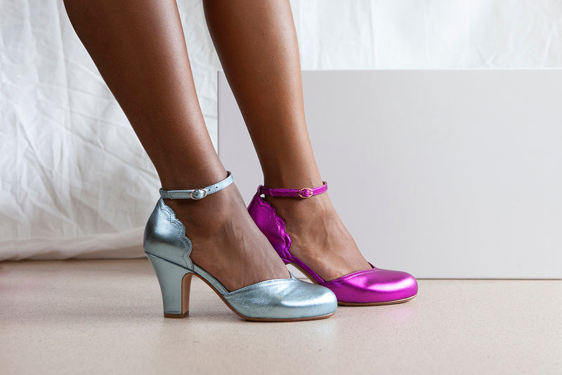 Layla Violet Metallic Leather Two Part Ankle Strap Sweetheart Heel