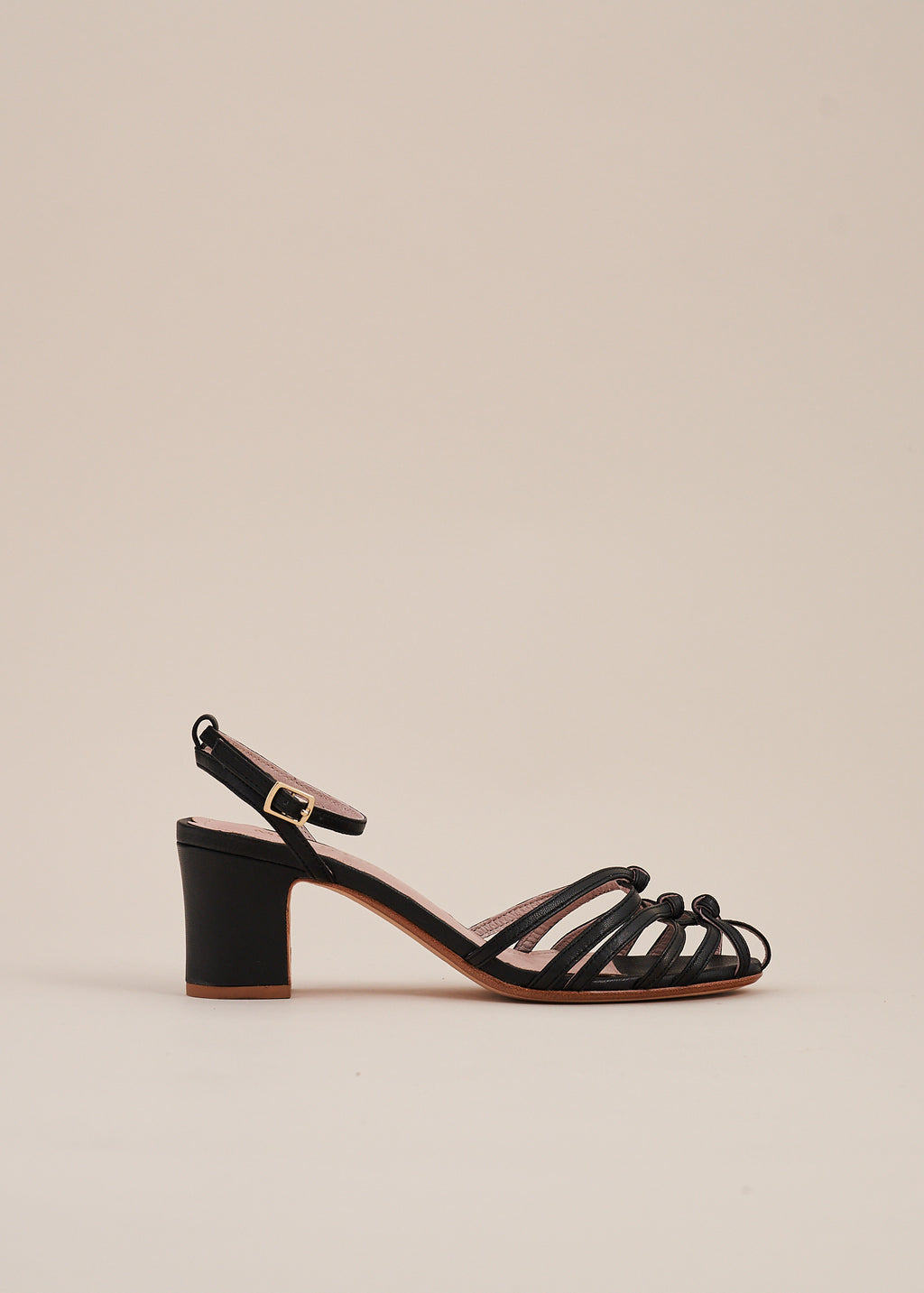 Lois mid heel strappy knot sandal in soft black leather by Miss L Fire. Limited edition, ethically made.