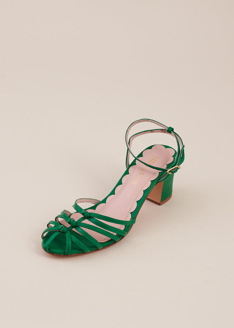 Lois strappy knot sandal with two inch heel by Miss L Fire. Cute and comfortable. Ethically made.
