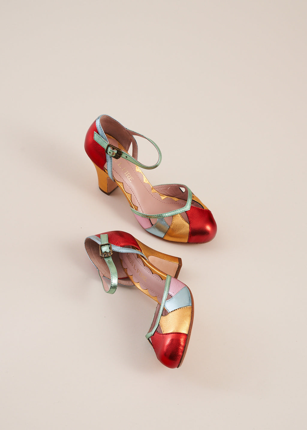 Lucie Multi Metallic Two Part Panelled Bar Heel- LAST PAIRS SIZES 40 & 41!