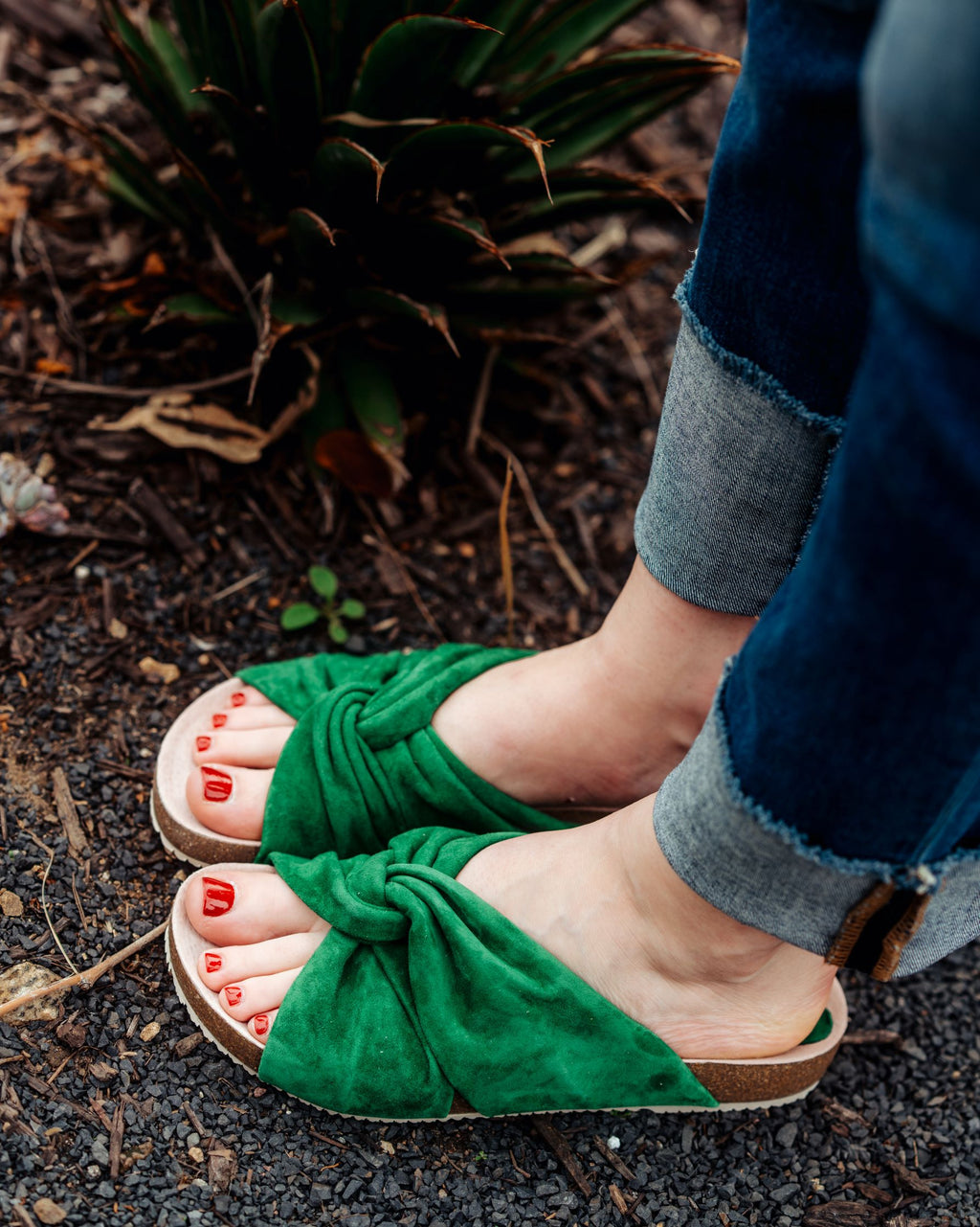 Green soft suede footbed summer sandals by Miss L Fire