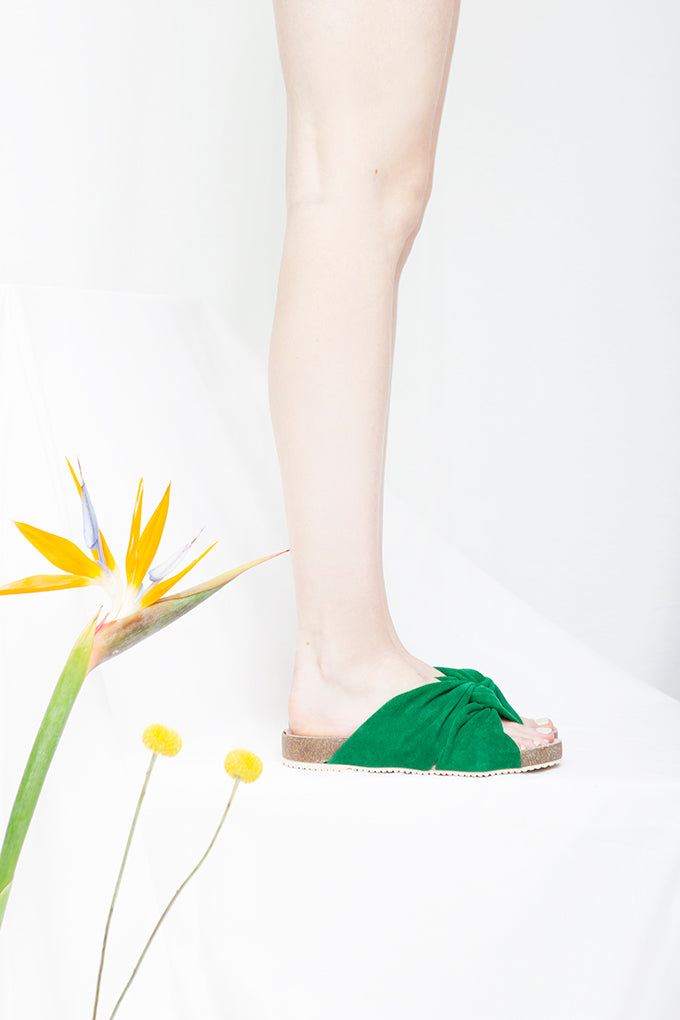 Lara Green Suede Footbed Sandal- LAST PAIRS SIZES 36 & 37!