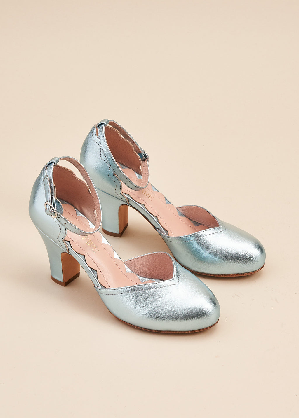 Layla Sky Blue Metallic Two Part Ankle Strap Sweetheart Heel