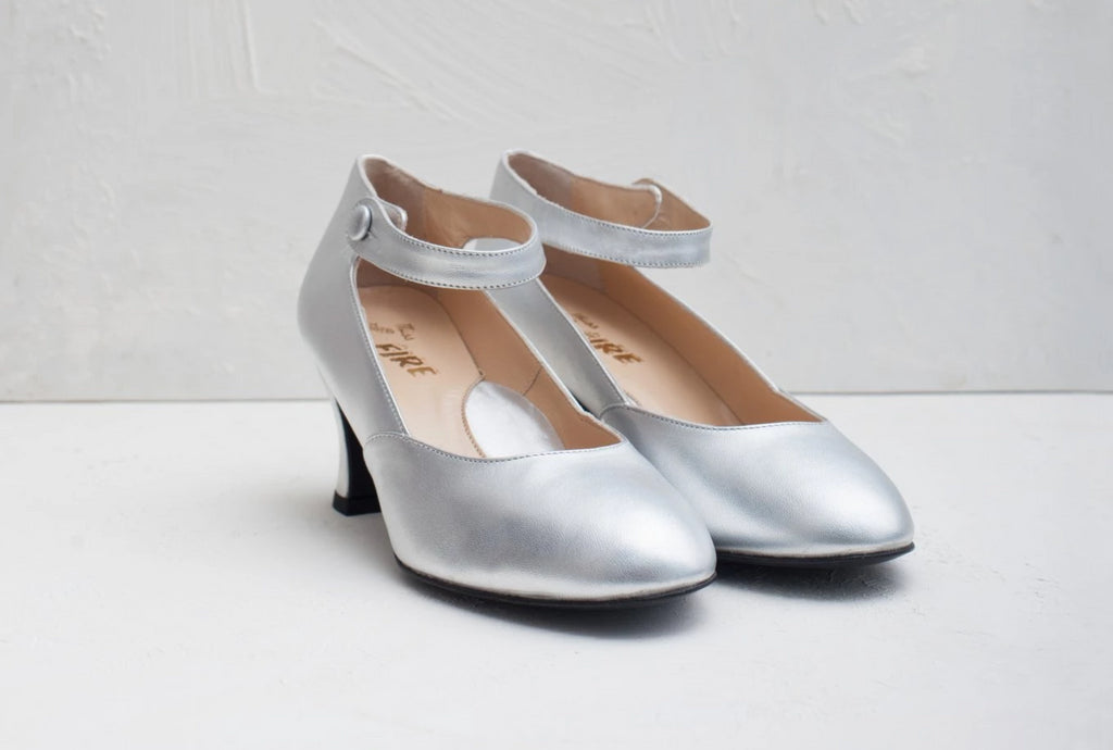Lillian Silver Mary Jane Louis Heel- LAST PAIRS SIZES 36 & 40!