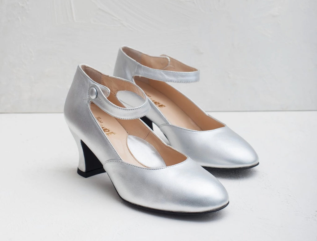 Lillian silver leather Mary Jane shoes by Miss L Fire. Perfect bridal shoes. Made in Italy