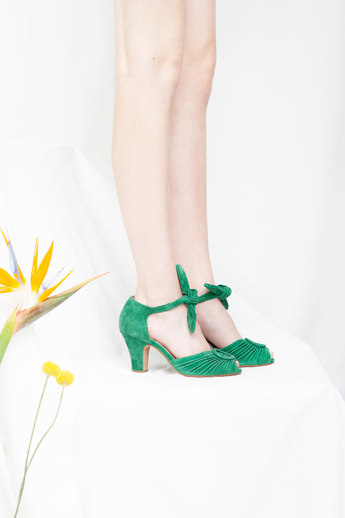 Loretta green suede peep toe sandals with ruched vamp and soft suede ankle ties. By British Designer, Miss L Fire.